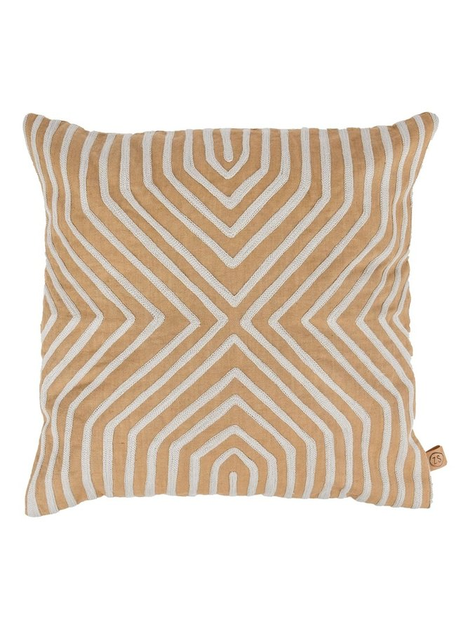Cushion graphic embroidered pattern khaki 45x45cm