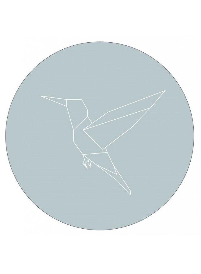 Wall circle hummingbird sea blue