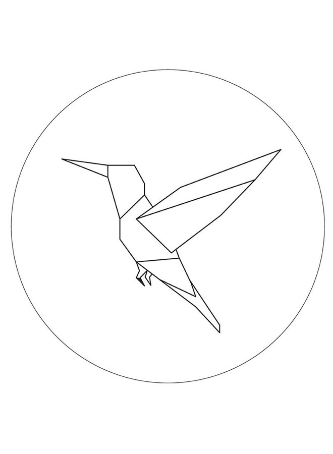 Wall circle hummingbird white