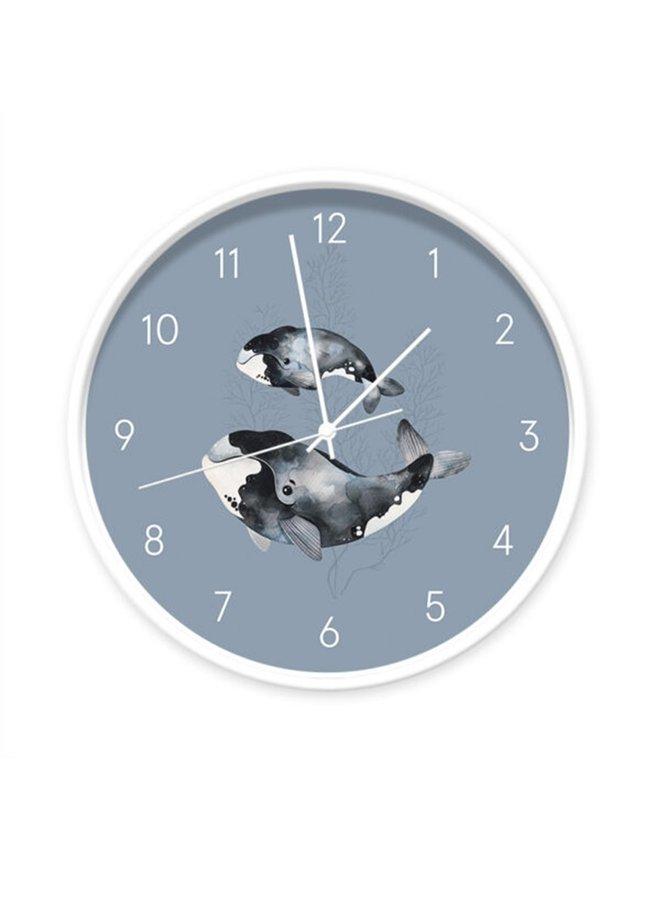 Children's clock  Sealife blue