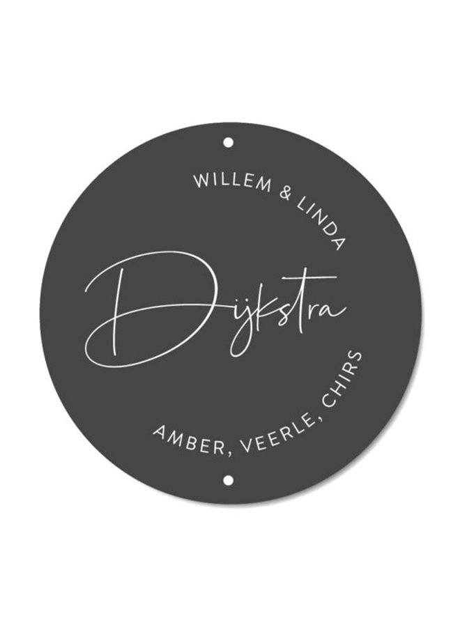 Outdoor wall circle nameplate Curly