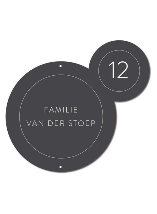 Outdoor wall circle nameplate Bubbles