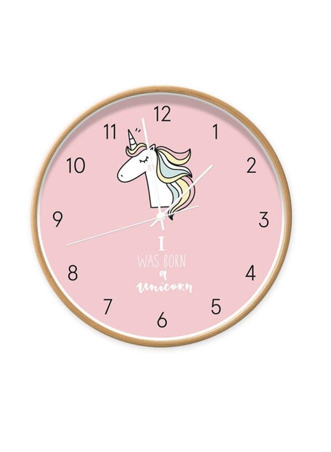Clock Unicorn pink