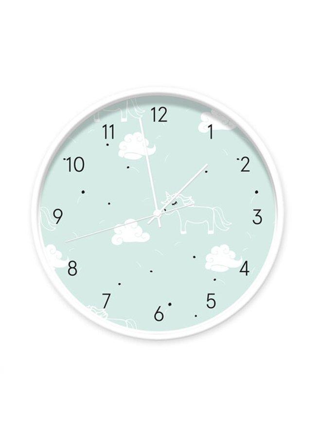 Clock Unicorn light blue