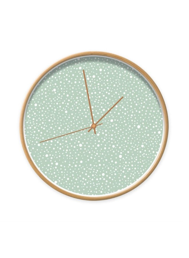 Clock minty green with dots