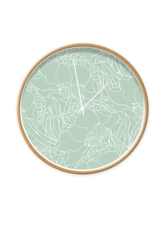 Clock floral minty green