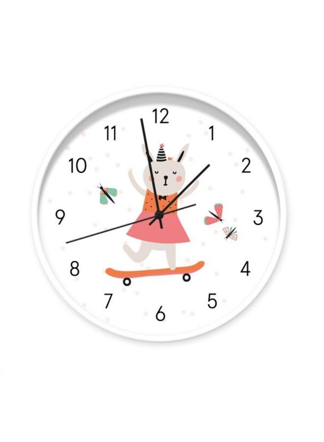 Clock rabbit on skateboard