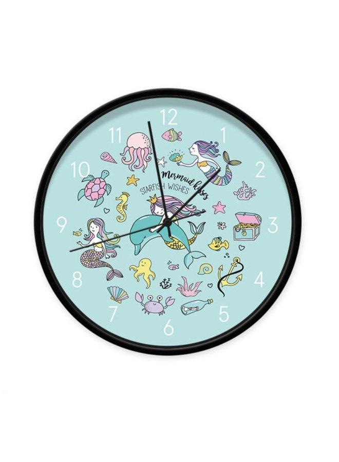 Clock mermaid blue