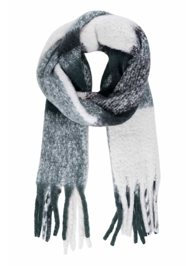 Checked scarf with fringes dark green
