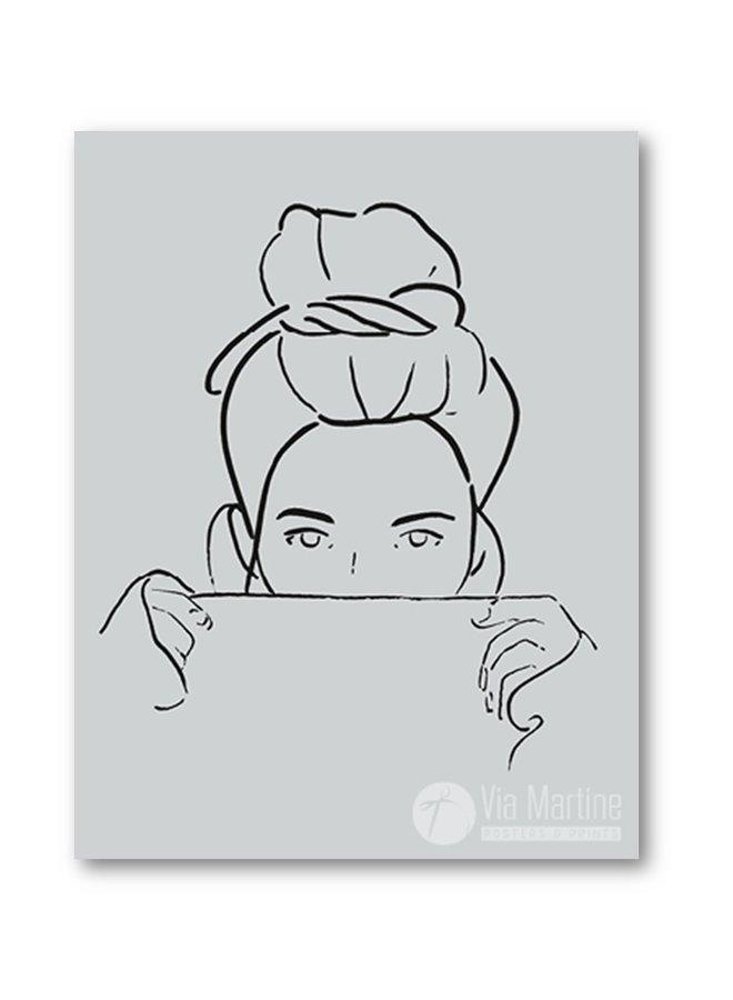 Poster Model drawing Bun grey