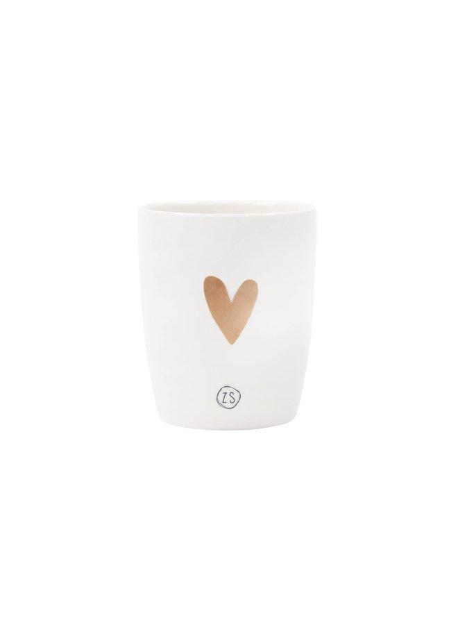 Espresso cup white golden heart