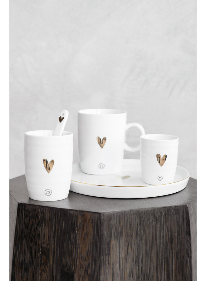 Espressokopje wit gouden hartje
