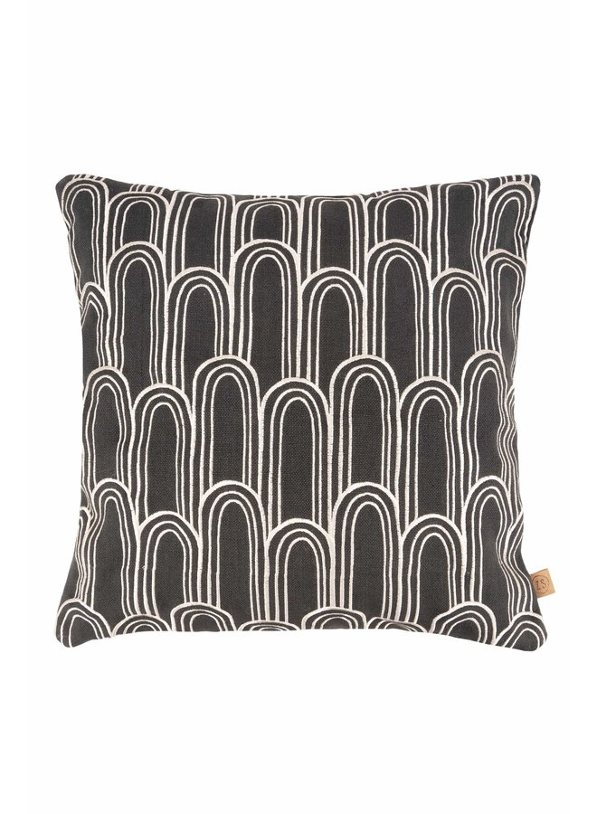 Cushion Embroidered Arches anthracite gray