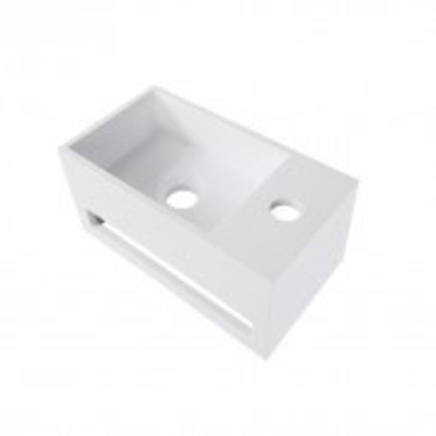 Solid Surface fontein & handdoekrek wit rechts 356x203x159-1