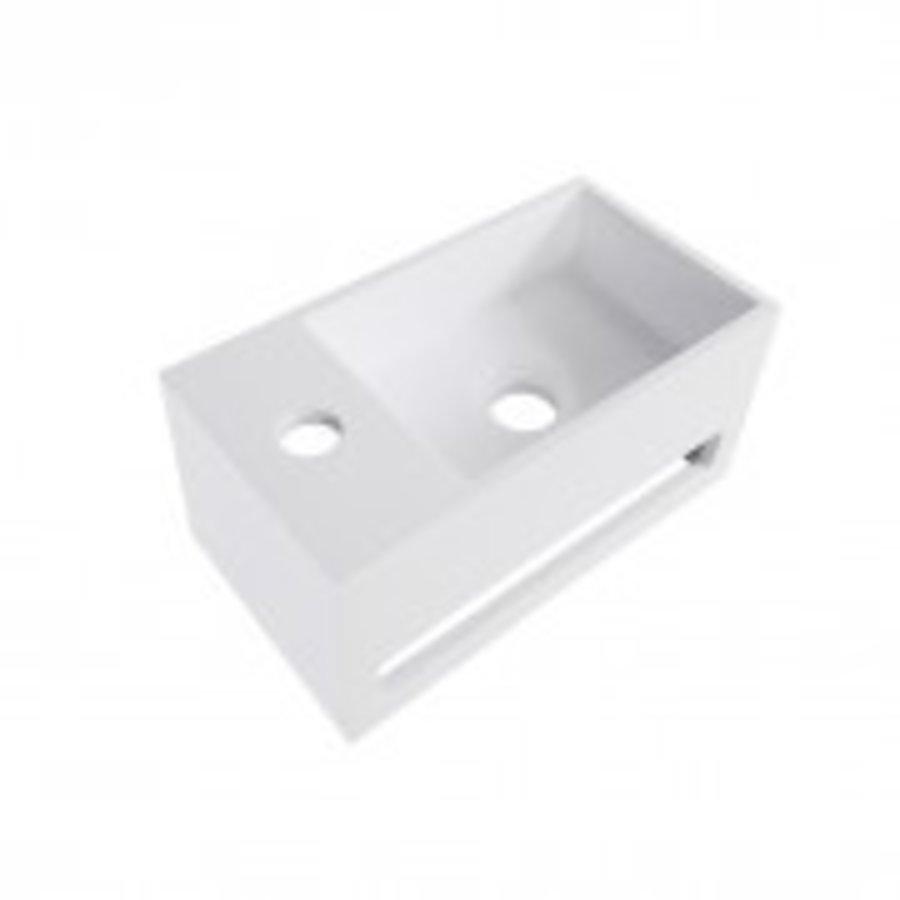Solid Surface fontein & handdoekrek wit links 356x203x159-1