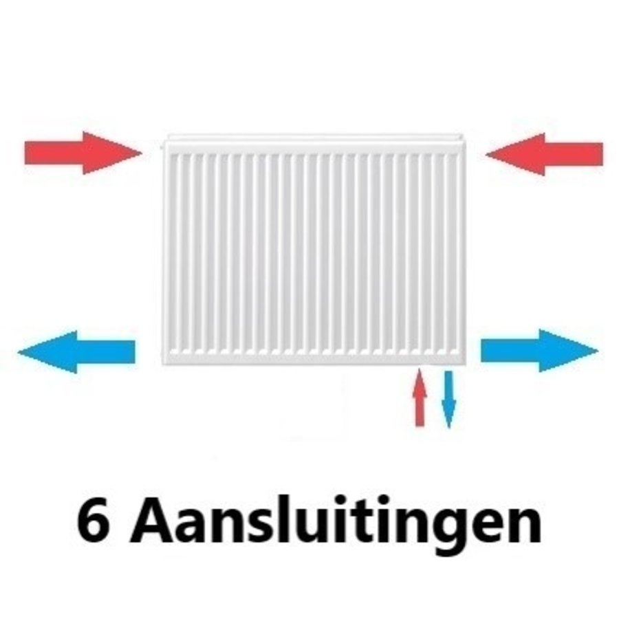 Stelrad Paneelradiatoren T22 met 6 Aansluitingen H600 diverse breedte-1