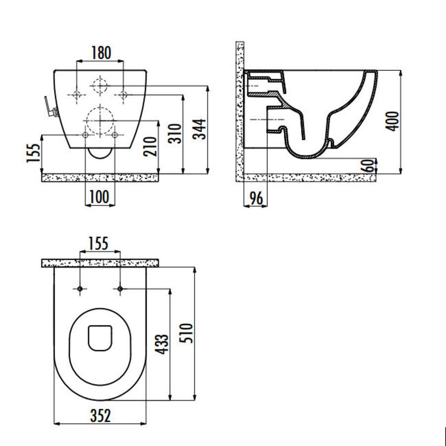 ALONI DESIGN OPHANG WC MET RVS SPROEIERAL55800 (BIDET) RIMOFF MET EEN GEÏNTEGREERDE WARM / KOUD WATER KRAAN-4