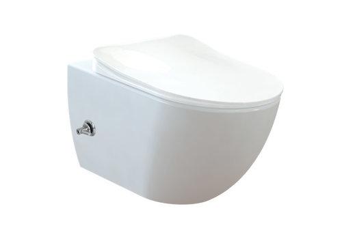 CREAVIT DESIGN OPHANG WC MET RVS SPROEIER (BIDET) RIMOFF MET EEN GEÏNTEGREERDE WARM / KOUD WATER KRAAN