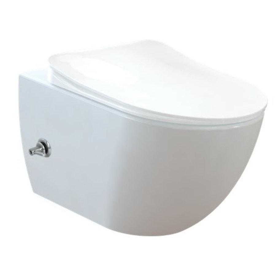 CREAVIT DESIGN OPHANG WC MET RVS SPROEIER (BIDET) RIMOFF MET EEN GEÏNTEGREERDE WARM / KOUD WATER KRAAN  FE322.00800-1