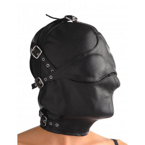 Strict Leather Lederen kap met afneembare blinddoek en snuit