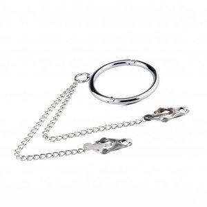 Sinner Gear Metalen Halsband Met Tepelklemmen