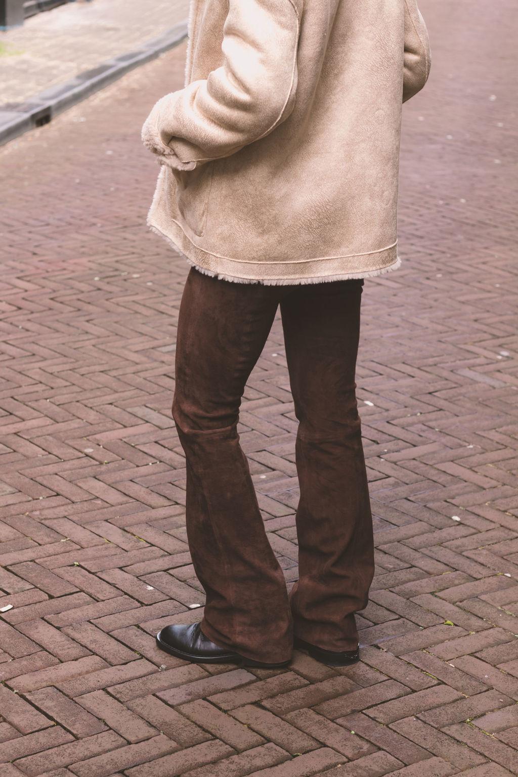 Dante6 Dollmann flare suede pants 213312 Chocolate-3