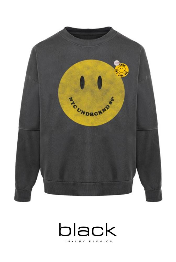Newtone Sweatshirt Roller Smiley Pepper FW21SWRPEPSMIL-1