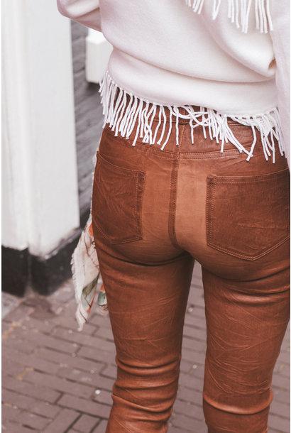 Leren broek Hoxton ultra skinny Dark argan