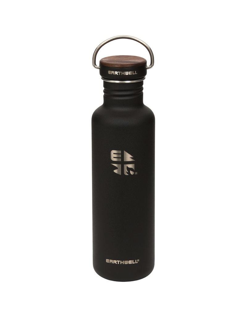 Earthwell 22oz Bottle 10 Volcanic Black Woodie Walnut Cap