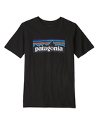 Patagonia Boys' P-6 Logo Organic T-Shirt Black