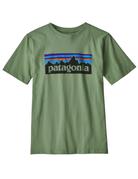Patagonia Boys' P-6 Logo Organic T-Shirt Matcha Green