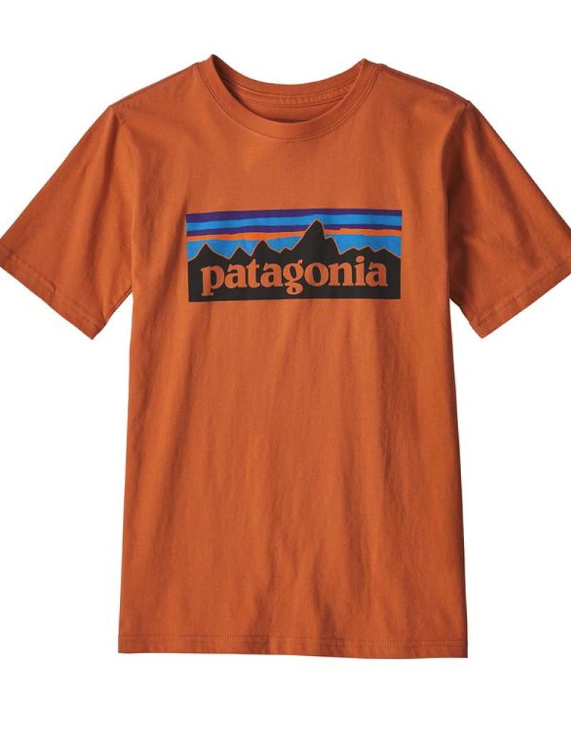 Patagonia Boys' P-6 Logo Organic T-Shirt Sunset Orange