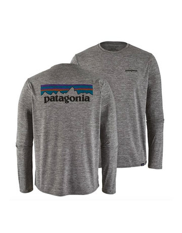 Patagonia M's L/S Cap Cool Daily Graphic Shirt P-6 logo feather grey