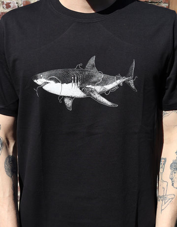 SnapperX T-shirt Haai in Black/White/Grey