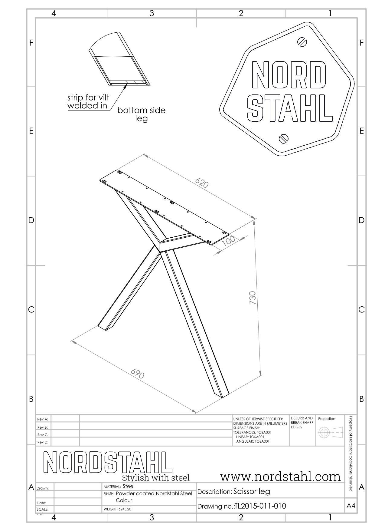 Nordstahl Scissor leg | Zwart-5