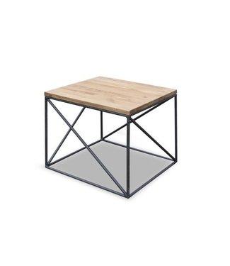 Steiken Vierkanten eiken salontafel met  stalen onderstel - Hartink