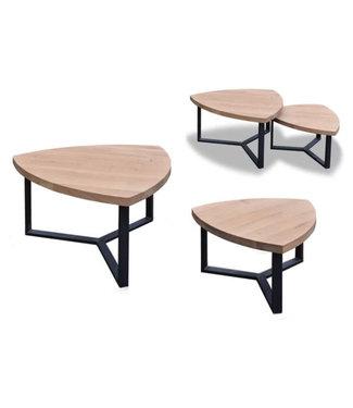 Steiken Driehoek eiken salontafel set - 60 en 80 cm
