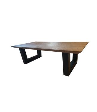 Steiken Eiken salontafel met stalen  U poten 8x8 cm