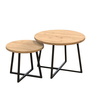 Steiken Massief eiken ronde salontafel met stalen 4 poot | Keurhorst