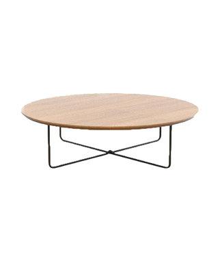 Steiken Ronde eikenhouten salontafel 60 cm met rond stalen onderstel