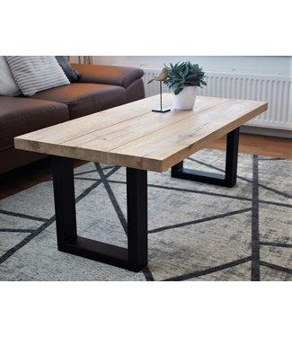 Steiken Rechthoekige eiken salontafel met stalen U-onderstel