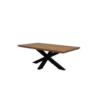 Steiken Rechthoek massief Eiken salontafel met stalen 3D kruispoot 120x65 cm