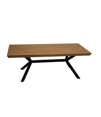 Steiken Eiken salontafel met ronde stalen poten 120x65 cm