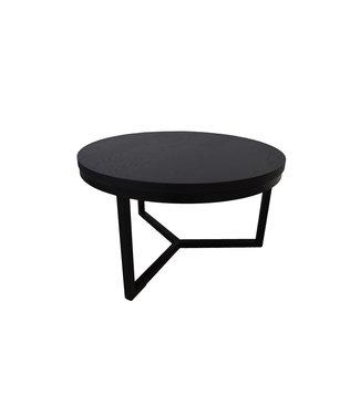 Steiken Zwarte ronde eiken salontafel | 80 cm | Seesing
