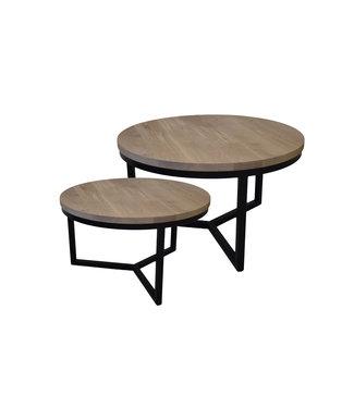 Steiken Massief eiken ronde salontafel set met zwarte  stalen onderstellen | 60 en 80 cm | Seesing