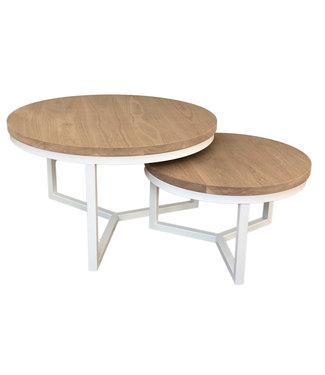 Steiken Massief eiken ronde salontafel set met witte stalen onderstellen | 60 en 80 cm | Seesing