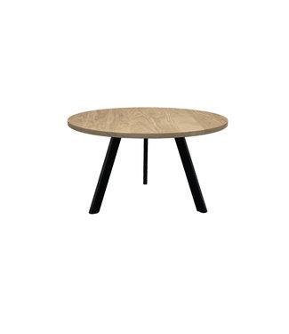 Steiken Ronde eiken salontafel met schuine stalen 3 poot | 60 cm | Swanen