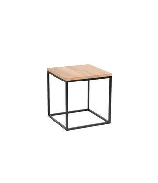 Steiken Eiken bijzettafel vierkant met zwart stalen frame | 40x40