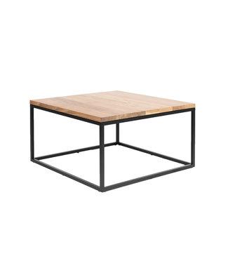 Steiken Vierkante massief eiken salontafel met zwart stalen frame | 60x60