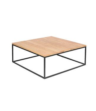 Steiken Vierkante massief eiken salontafel met zwart stalen frame | 80x80
